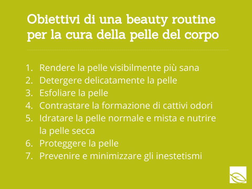 obiettivo beauty routine corpo